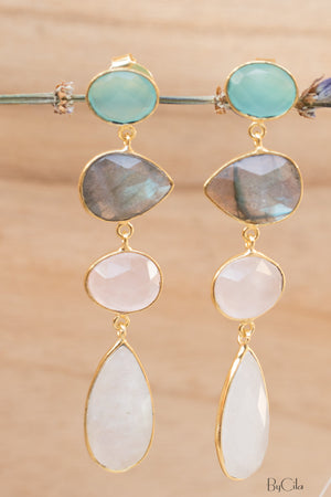 Aqua Chalcedony, Labradorite, Rose Quartz & Moonstone Earrings * Earrings Gold Plated 18k* Multi-stones * Gold * Handmade Gemstone * BJE090