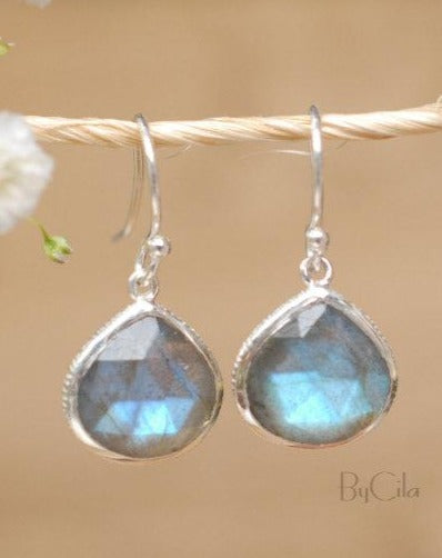 Lihue Earrings * Labradorite * Gold Plated 18k or Sterling Silver 925 * BJE062B