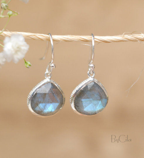 Labradorite Earrings Gold Plated 18k or Sterling Silver 925 * Dangle Earrings * Gemstone * Handmade * Delicate * Minimalist *  BJE062B