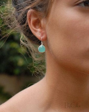Lihue Earrings * Aqua Chalcedony * Gold Plated 18k or Sterling Silver 925 * BJE063A