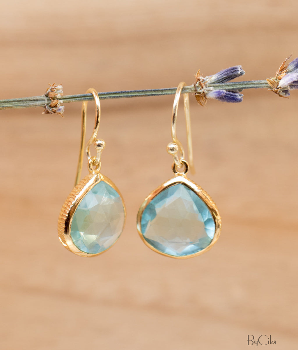 Blue Topaz Earrings * Gold Plated 18k or Sterling Silver * Dangle Earrings * Handmade * Boho* Delicate * * Gemstone * Minimalist  * BJE066A