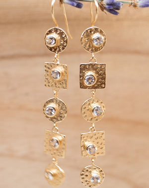 Sonia Earrings * White Topaz * Gold Plated 18k * BJE075