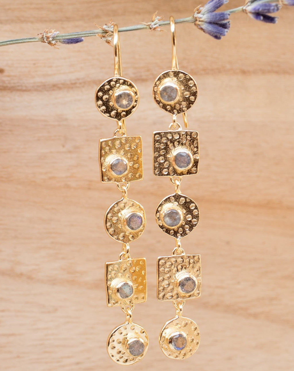 Sonia Earrings * Labradorite * Gold Plated 18k * BJE074