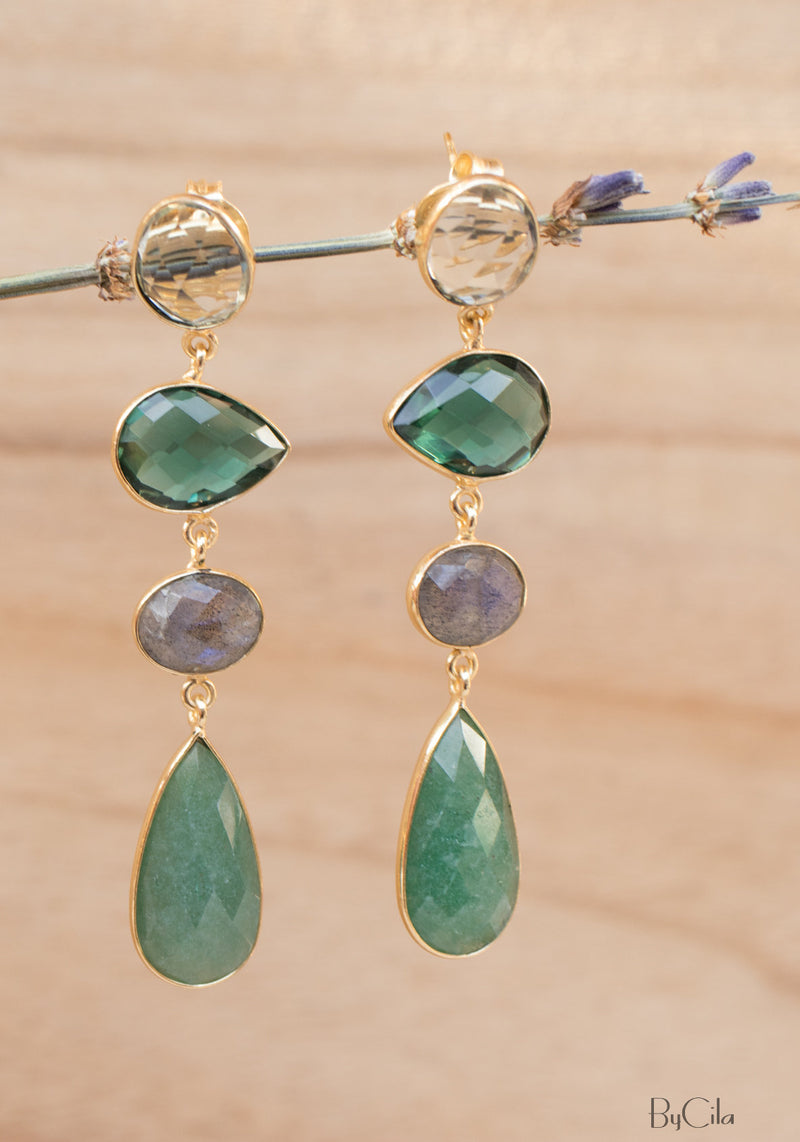 Topaz, Green Tourmaline Hydro, Labradorite & Aventurine Earrings Gold Plated 18k * Multi-stones * Gold * Handmade Gemstone * ByCila* BJE089