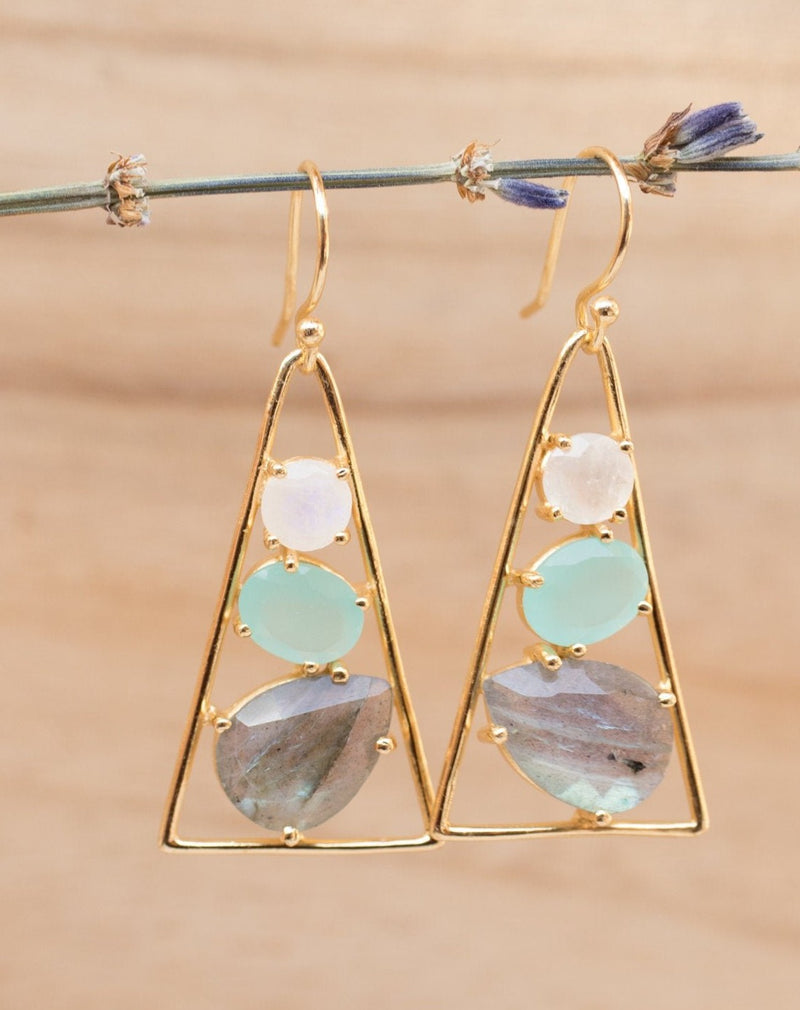 Cleo Earrings * Moonstone, Aqua chalcedony & Labradorite * Gold Plated 18k * BJE100