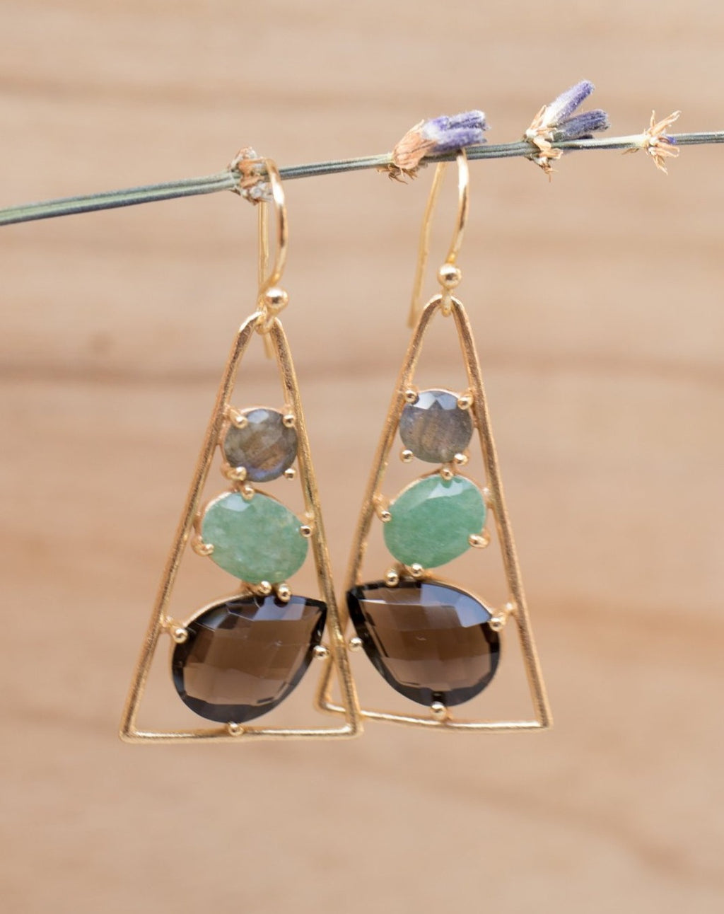 Cleo Earrings * Labradorite, Aventurine & Smoky Quartz * Gold Plated 18k * BJE098