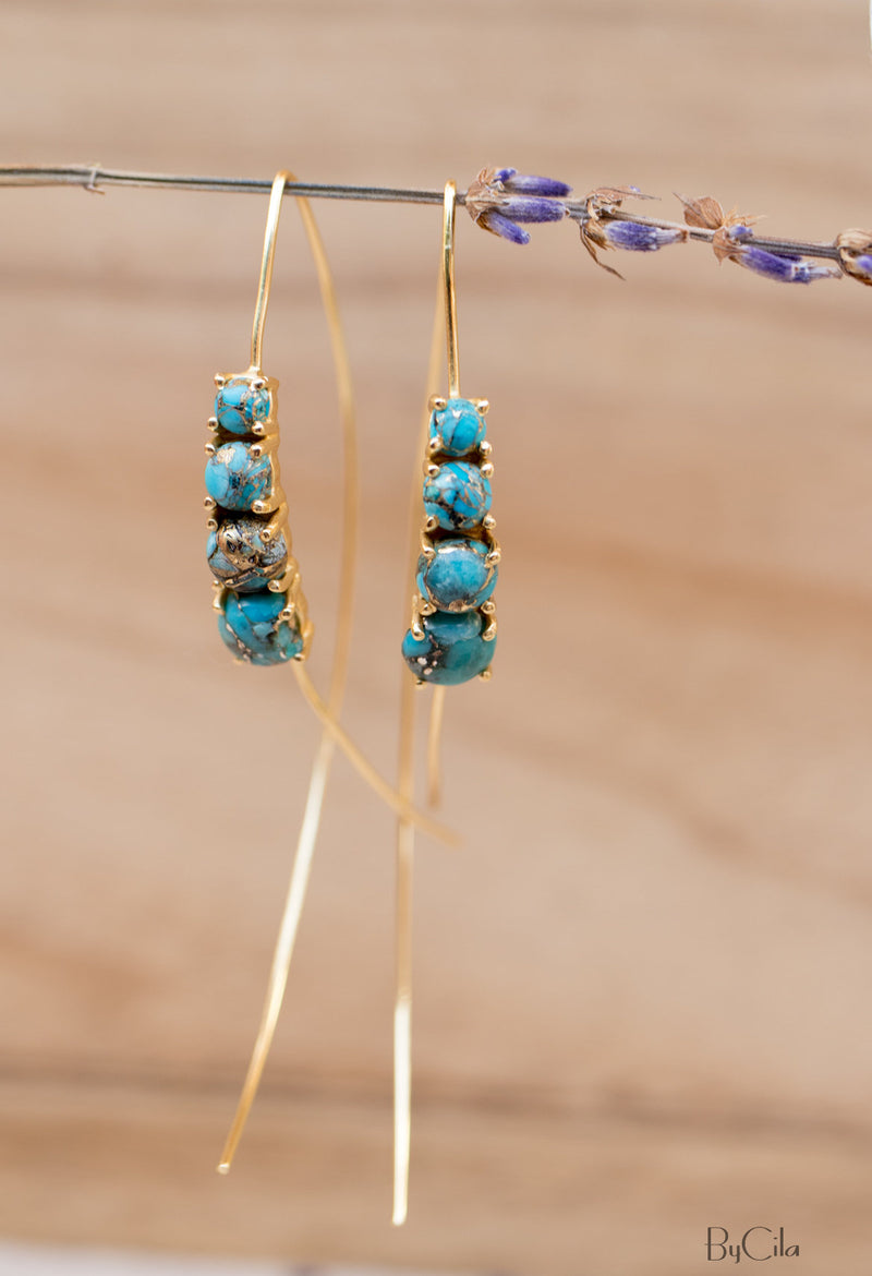 Copper Turquoise Sterling Silver, Rose Gold or Gold Vermei Threader Earrings * Gemstone * Earrings * Blue Stone* Handmade * Modern  *BJE042B
