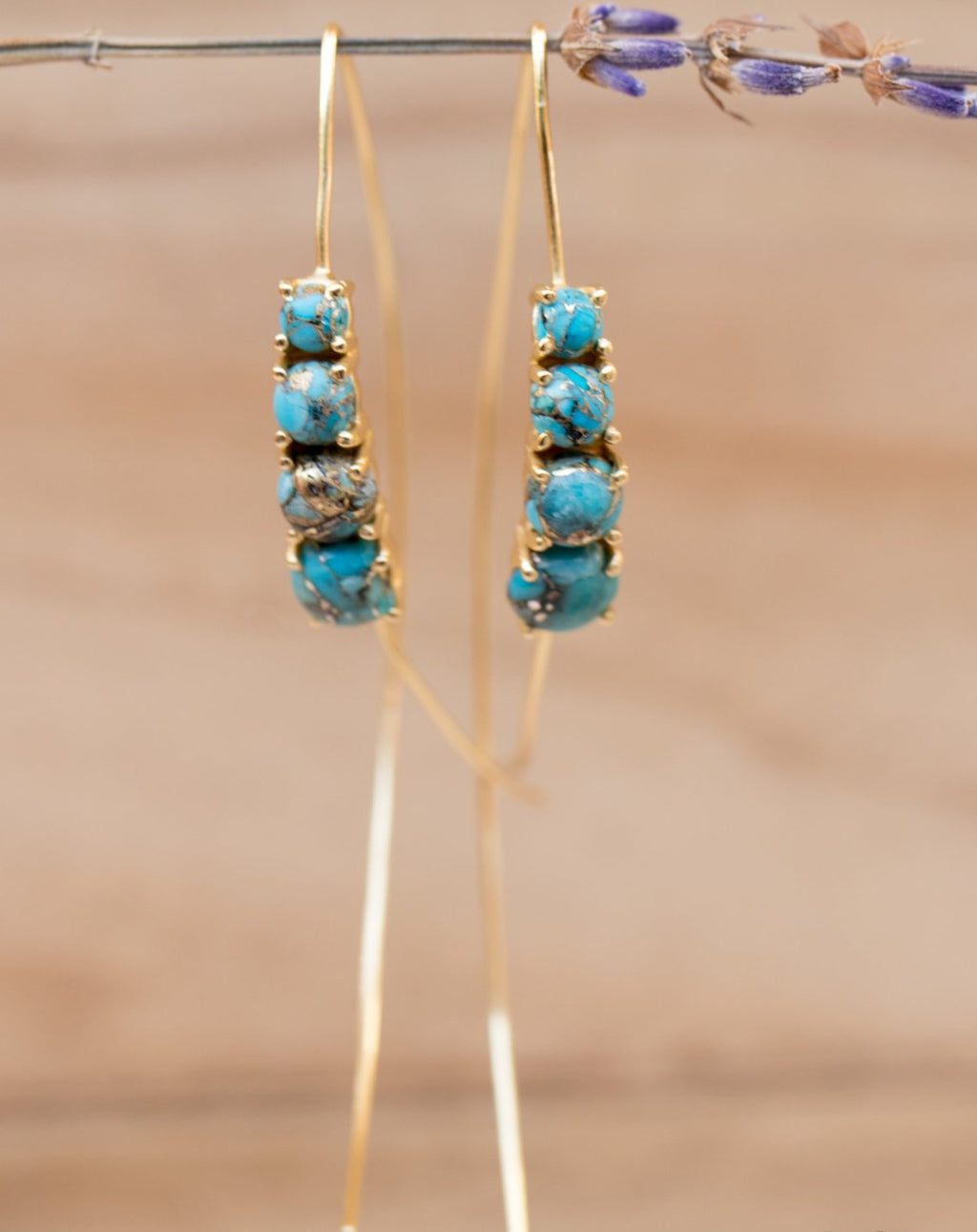 Aja Earrings * Copper Turquoise * Sterling Silver, Rose Gold or Gold Vermeil * BJE042A