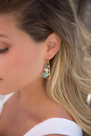 Copper Turquoise, Moonstone & Aqua chalcedony Triangle Earrings 18k Gold Plated * Gemstone * Dangle * Drop  * Handmade * Boho * BJE099