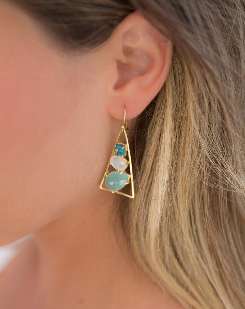 Cleo Earrings * Copper Turquoise, Moonstone & Aqua chalcedony  * Gold Plated 18k * BJE099