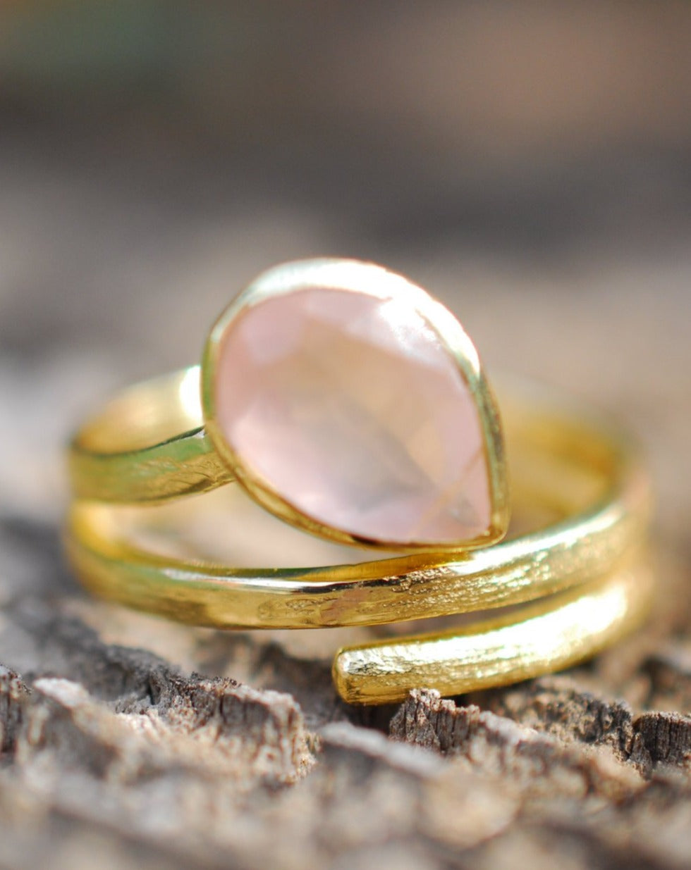 Rose Quartz Ring * 18k Gold Plated Ring * Statement Ring * Gemstone Ring * Pink * Bridal Ring * Wedding Ring * Organic Ring * Natural BJR108
