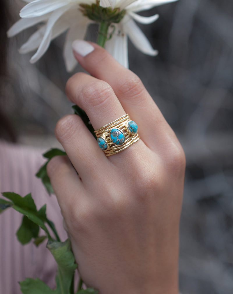 Turquoise Gold Plated Ring *Gold Ring *Statement Ring *Gemstone *Copper Turquoise Ring* Natural *Organic Ring * Ocean* Blue Ring * BJR160