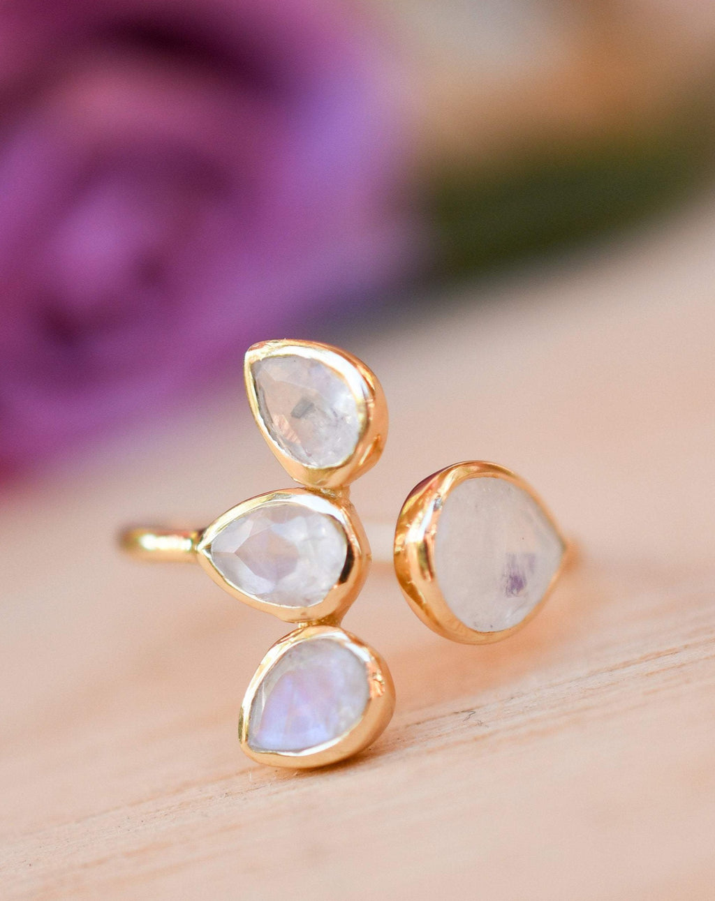 Moonstone Ring * Gold Vermeil*  Lotus Flower *Gold * Statement* Gemstone *Bridesmaid *Natural* Handmade *Gift For Her *BJR175