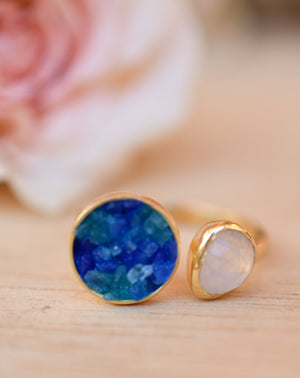 Mosaic Jade & Moonstone Ring * 18k Gold Plated Ring * Statement Ring *Gemstone Ring * handmade *Adjustable * Boho * BJR170