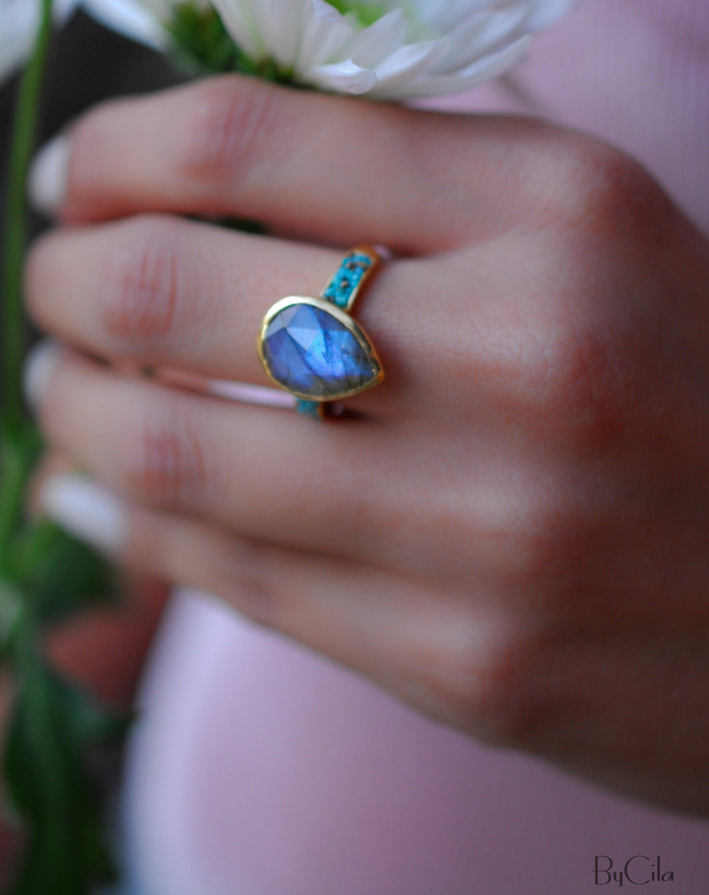 Labradorite & Turquoise Ring * 18k Gold Plated Ring * Statement Ring *Gemstone Ring *Labradorite *Bridal Ring *Organic Ring *Natural *BJR177