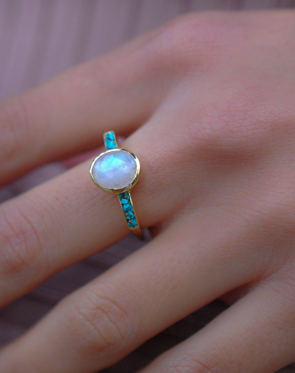 Moonstone & Mosaic Turquoise Square Ring * 18k Gold Plated Ring * Statement Ring *Gemstone Ring *Bridal Ring *Organic Ring *Natural * BJR164