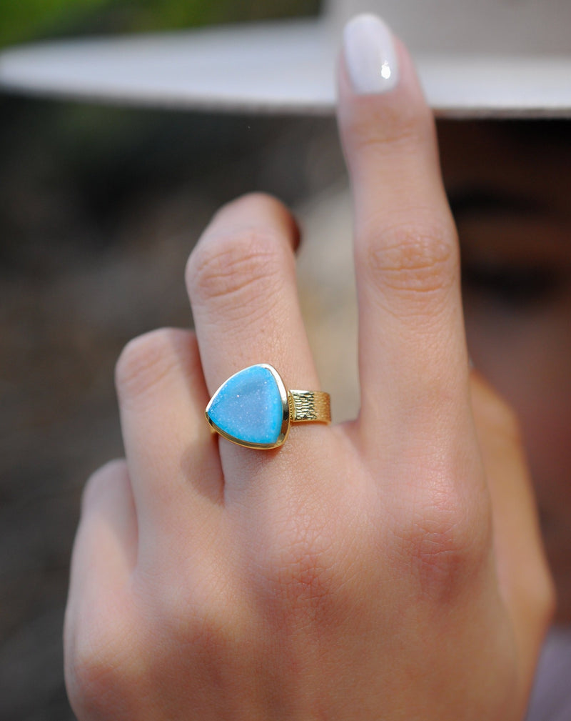 Blue Druzy Ring * Gold Plated Ring * Statement Ring *Gemstone Ring  *Gold Crystal* Natural Druzy *Large Gemstone *Organic Ring * BJR159
