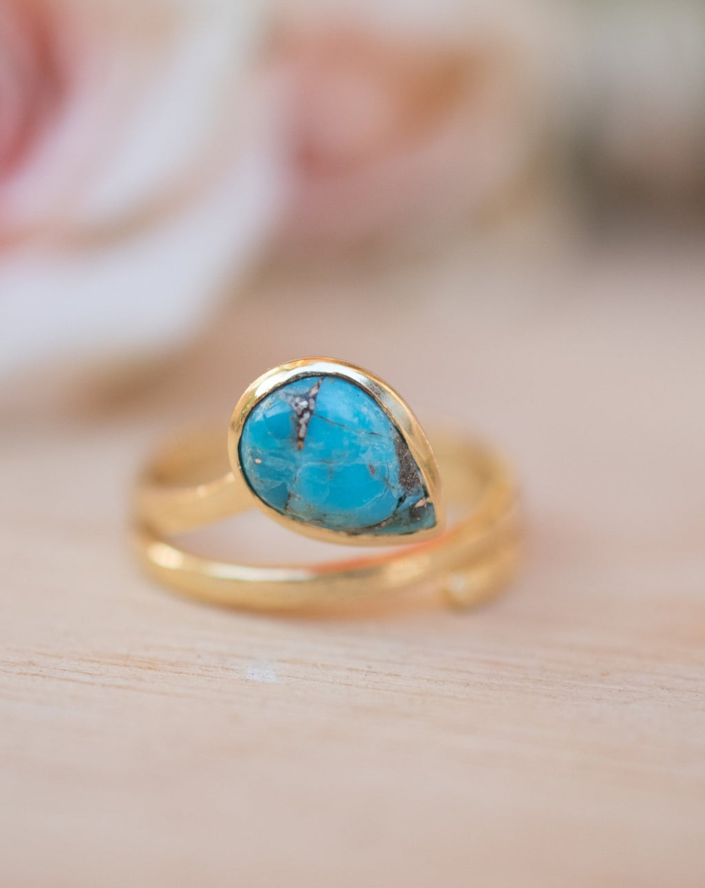 Copper Turquoise Ring *18k Gold Plated Ring* Statement Ring* Gemstone Ring * Blue * Bridal Ring* Wedding Ring *Organic Ring * Natural BJR107