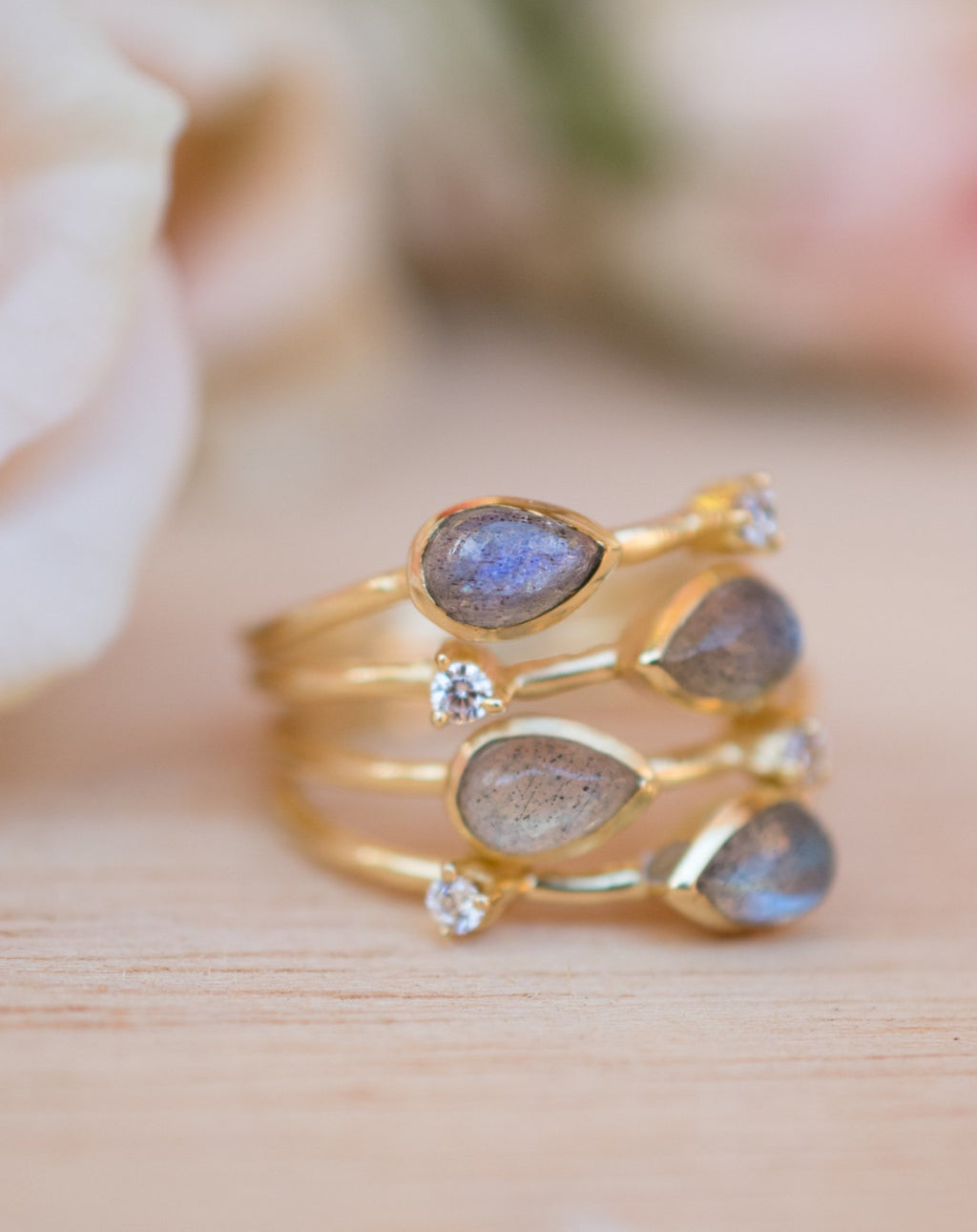 Rainbow Labradorite  & Zirconia Ring * Gold Ring * Gemstone * Gold Plated * Statement *Bridal *Wedding * Natural *Handmade * BJR105