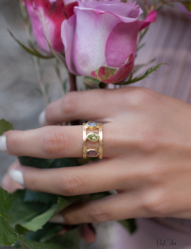 Amethyst, Peridot & Iolite hydro Ring * 18k Gold Plated Ring * Statement Ring *Gemstone Ring * handmade *Adjustable * Boho BJR180