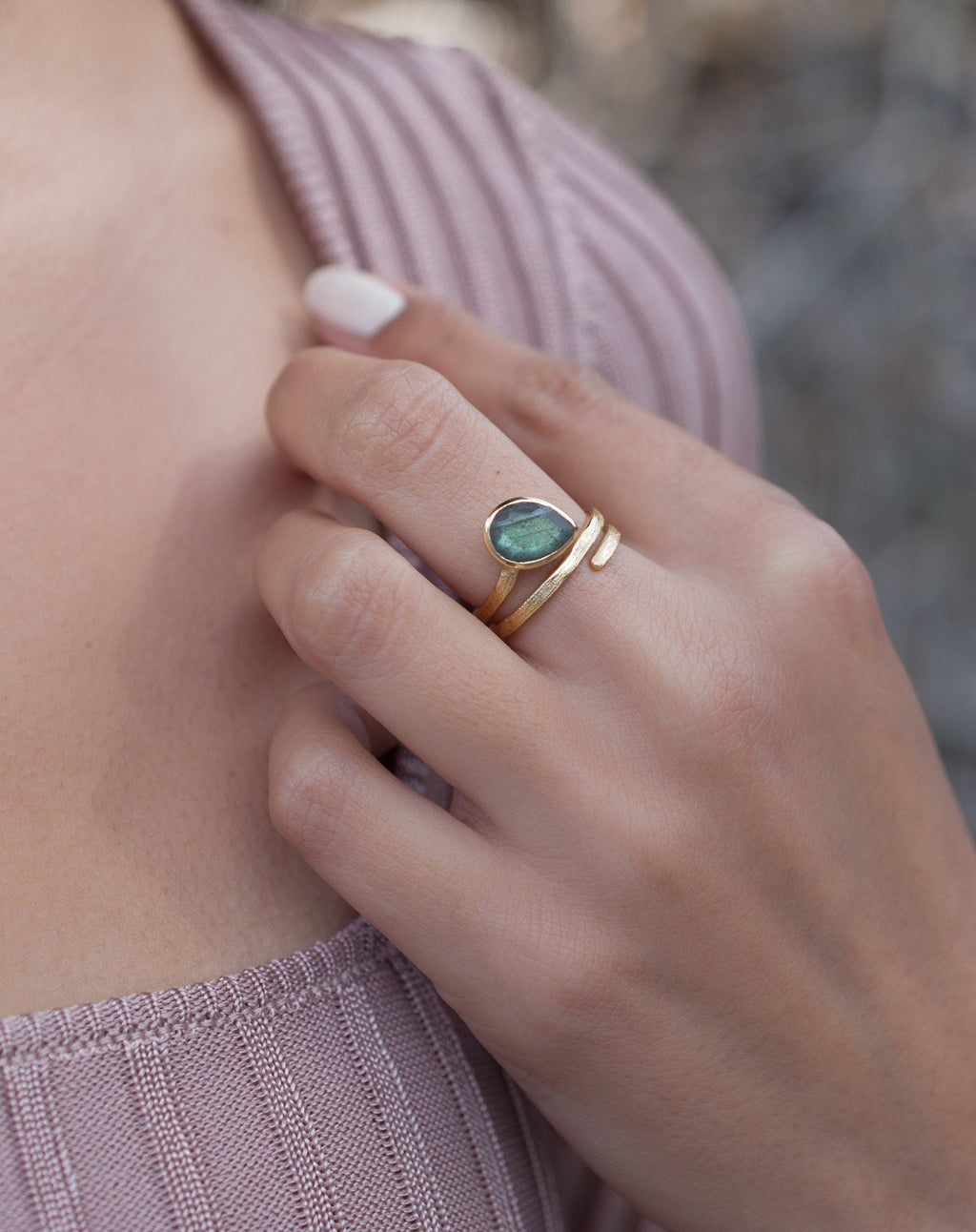 Labradorite Ring * 18k Gold Plated Ring * Statement Ring * Gemstone Ring * Bridal Ring * Wedding Ring * Organic Ring * Natural BJR106
