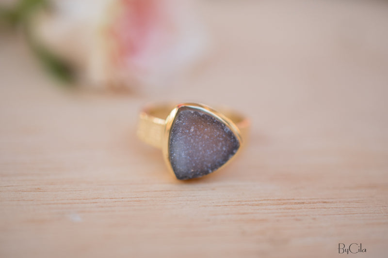 Black Druzy Ring * Gold Plated Ring * Statement Ring *Gemstone Ring  *Gold Crystal* Natural Druzy *Large Gemstone *Organic Ring * BJR158