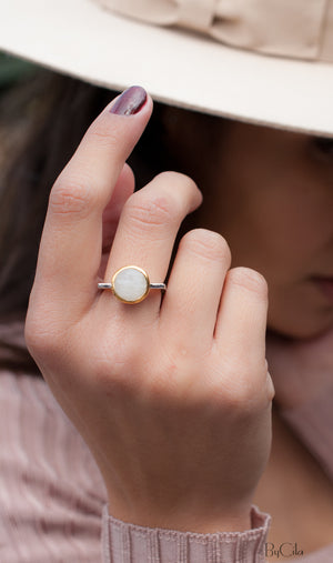 Moonstone Square Ring *  Silver Plated * Statement Ring *Gemstone Ring *Bridal Ring *Organic Ring *Natural * BJR165