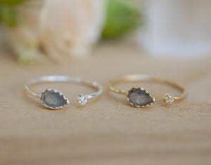 Labradorite Ring *Adjustable Gold Vermeil or Sterling Silver 925 * Statement*Gemstone * Wedding Bridesmaid *Boho *Bohemian *Handmade BJR035