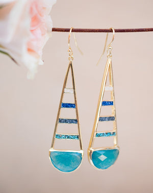 Giuliana Earrings * Moonstone,Jade,Iolite hydro,Copper Turquoise * Gold Plated 18k * BJE113