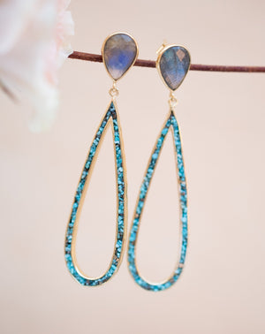 Emanuelly Earrings * Labradorite and Copper Turquoise * Gold Plated 18K * BJE117