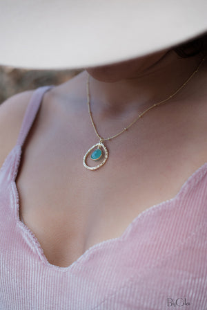 Copper turquoise * Moonstone * Labradorite * Aqua Chalcedony * Necklace * Dotted chain Gold Vermeil * Gemstone * Hammered * BJN004