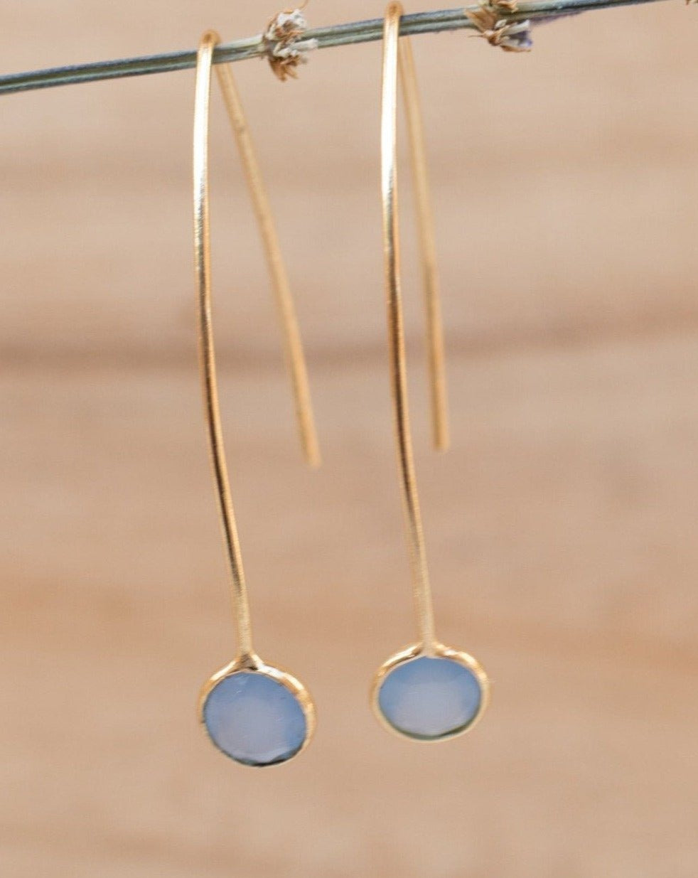 Diana Earrings * Blue Chalcedony * Gold vermeil * BJE051