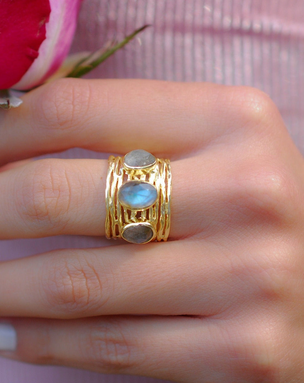 Labradorite Ring * 18k Gold Plated Ring * Statement Ring *Gemstone Ring *Labradorite *Bridal Ring *Organic Ring *Natural * BJR161