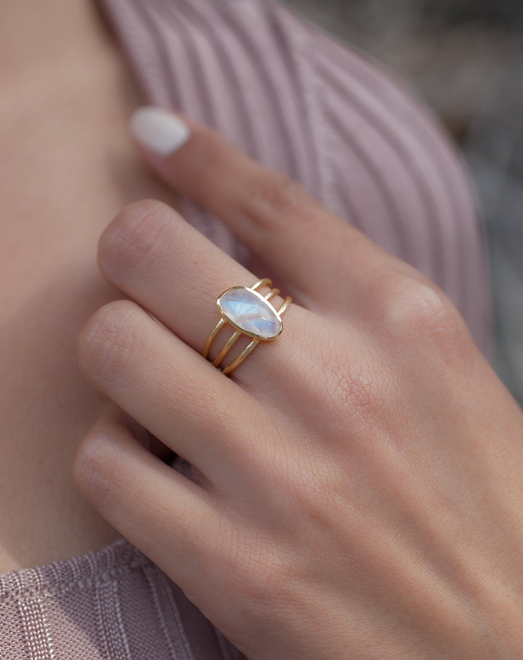 Moonstone Ring * Gold Vermeil*  *Gold * Statement* Gemstone *Bridesmaid *Natural* Handmade *Gift For Her *BJR050