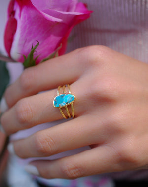 Turquoise Ring *Gold Vermeil Ring*Statement Ring *Gemstone Ring *Copper Turquoise Ring* Natural *Organic Ring * ByCila*Blue Ring *BJR051