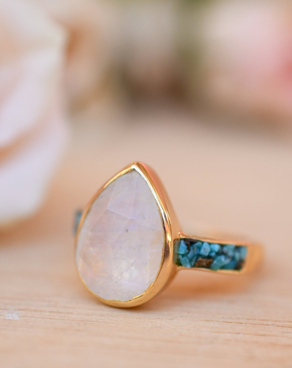 Moonstone & Mosaic Turquoise Ring*18k Gold Plated Ring*Statement Ring*Gemstone Ring *Labradorite *Bridal Ring *Organic Ring *Natural *BJR178