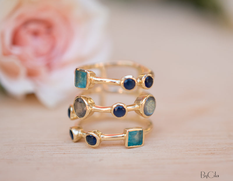 Gemstones Gold Ring * Statement Birthstone* Gold Plated Ring * Green Jade, Sapphire hydro, Labradorite *Multi stones *Statement Ring BJR071