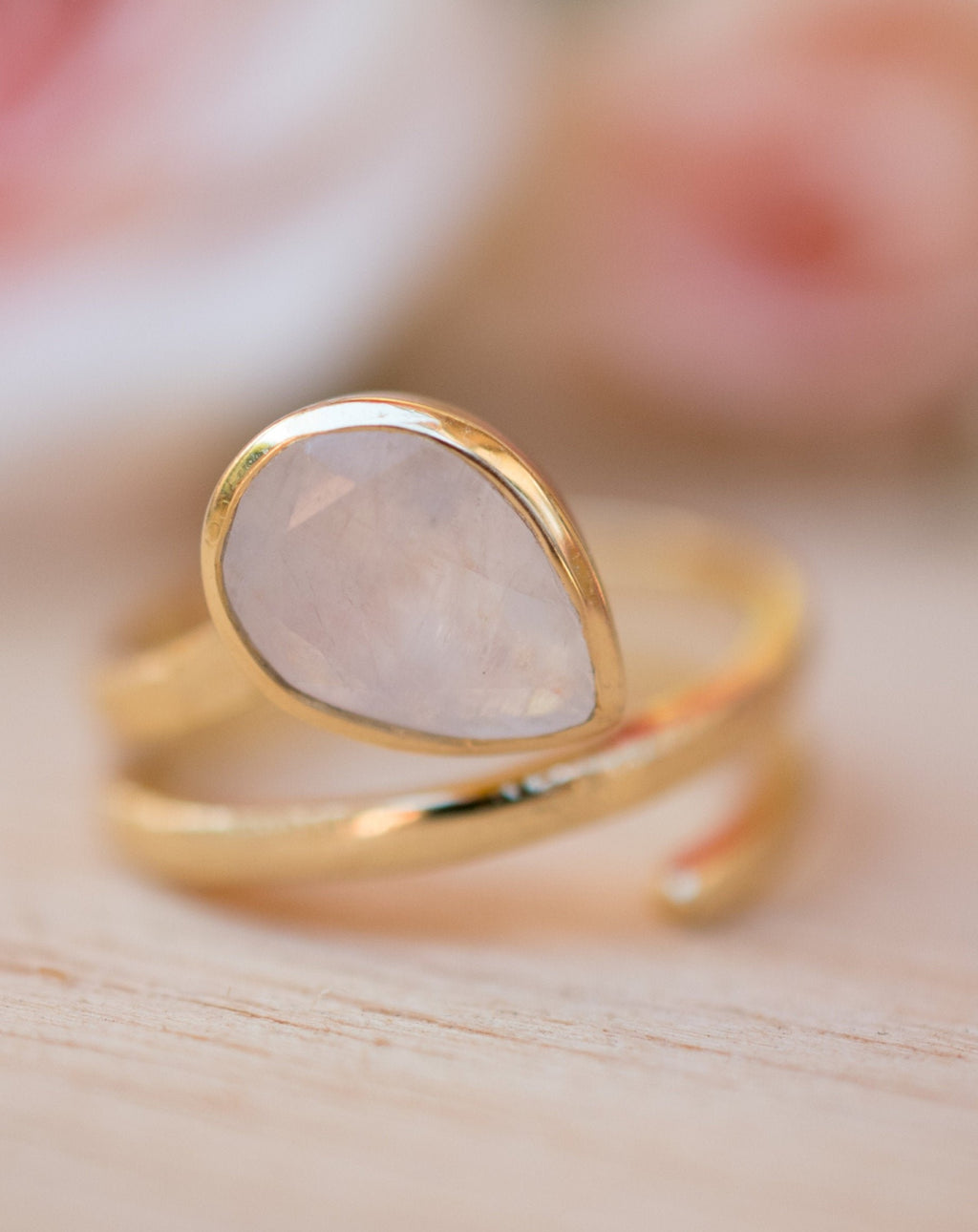 Moonstone Ring * 18k Gold Plated Ring * Statement Ring * Gemstone Ring * White * Bridal Ring * Wedding Ring * Organic Ring * Natural BJR109