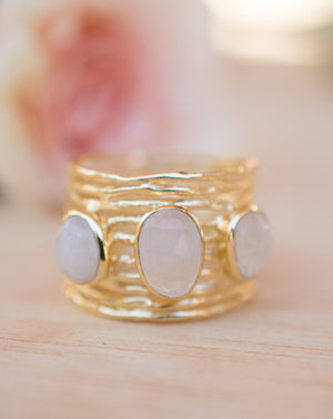 Moonstone Gold Plated Ring *  Statement Ring * Gemstone Ring * Rainbow Moonstone * Gold Ring  * BJR162