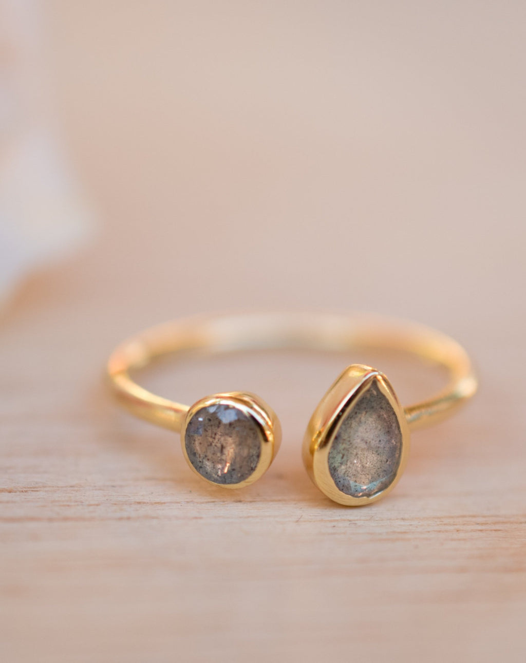 Labradorite Ring *Adjustable Gold Vermeil * Statement*Gemstone * Wedding Bridesmaid *Boho *Bohemian *Handmade BJR172