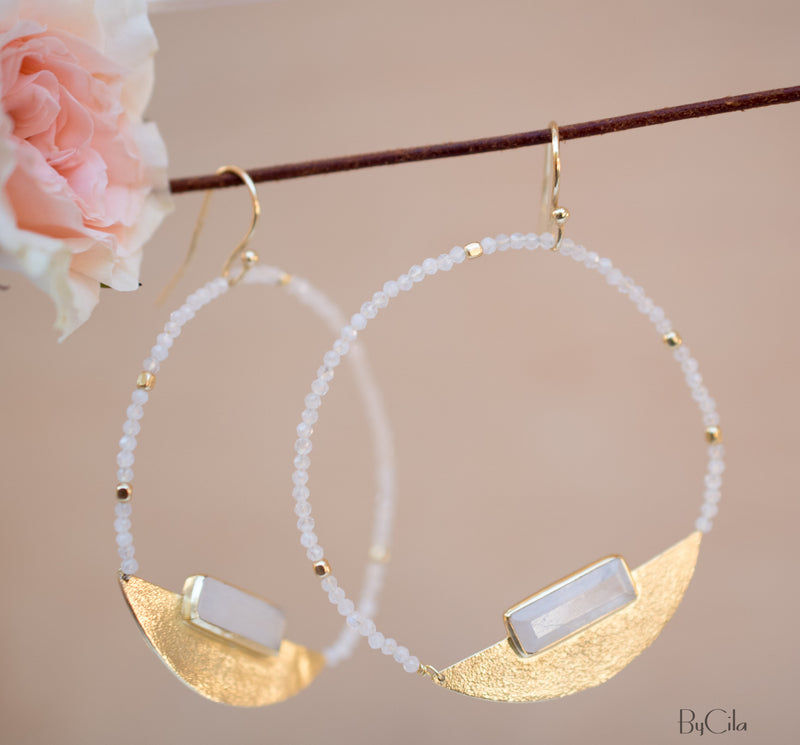 Moonstone Round Gold Plated Earrings * Gemstone * Earrings * Moonstone Beads * Handmade * Boho * Modern  * Loop* Dangle * ByCila *BJE115