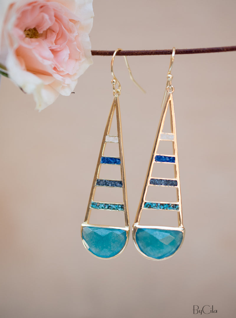 Moonstone,Jade,Iolite hydro,Copper Turquoise Dangle  Earrings Gold Plated * Gemstone *Earrings * Handmade* Modern  * Loop* Dangle* BJE113