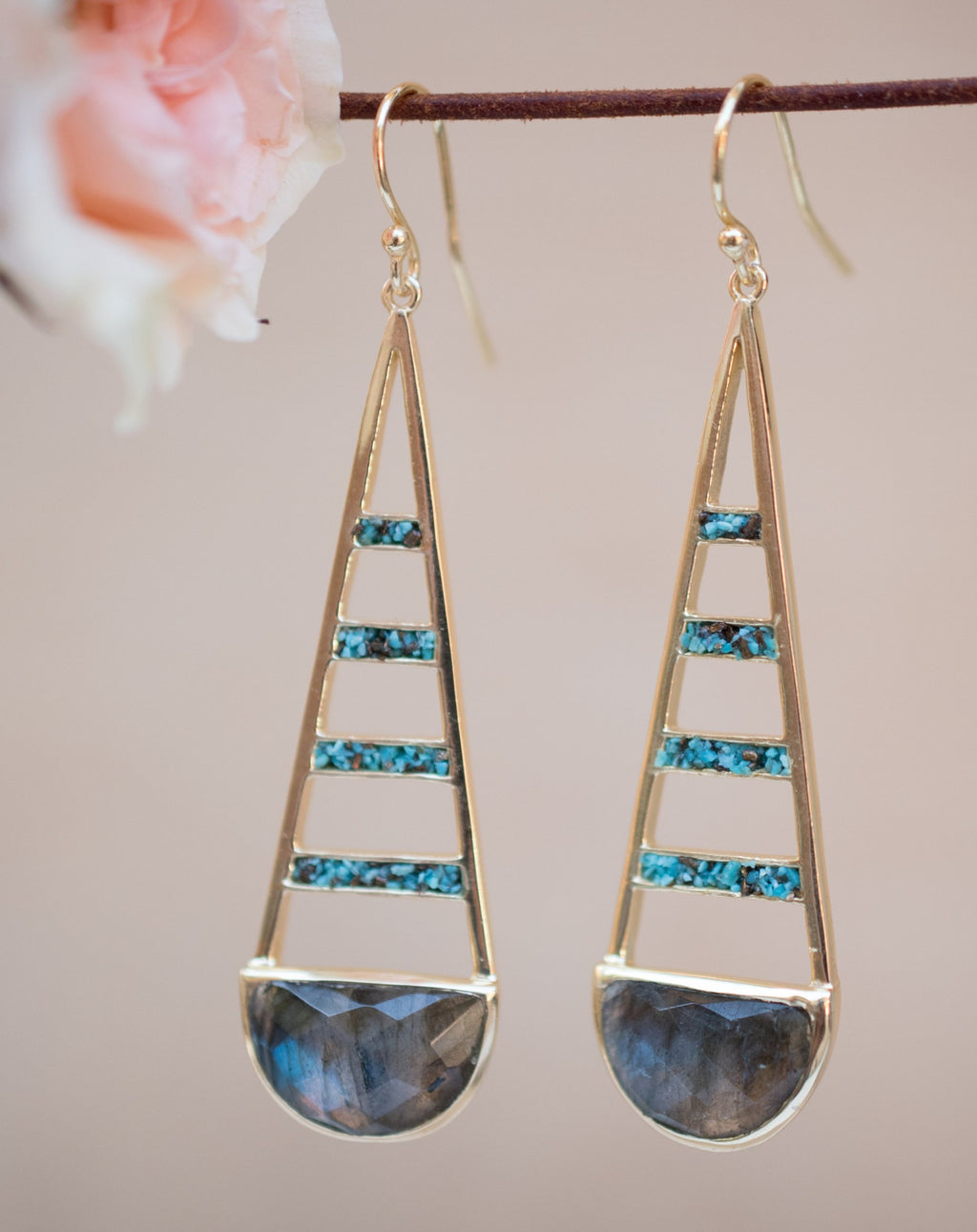 Giuliana Earrings * Labradorite and Copper Turquoise * Gold Plated 18k * BJE112