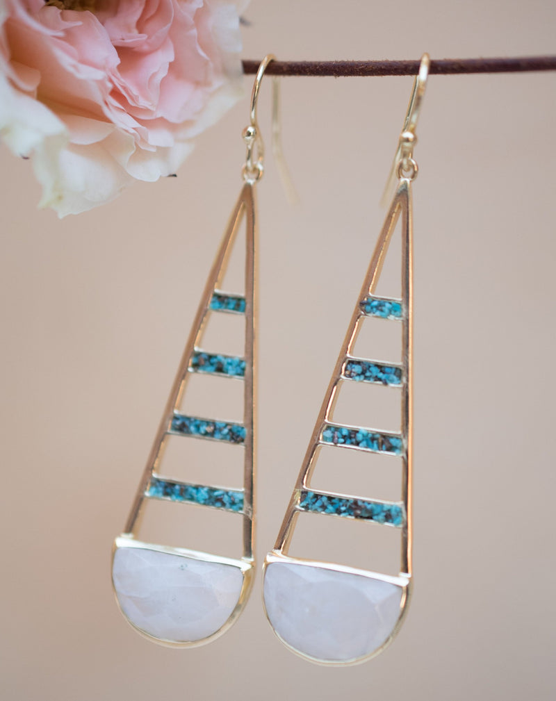 Giuliana Earrings * Moonstone and Copper Turquoise * Gold Plated 18k * BJE114