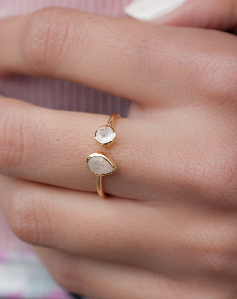 Moonstone Ring *Adjustable Gold Vermeil * Statement*Gemstone * Wedding Bridesmaid *Boho *Bohemian *Handmade BJR171
