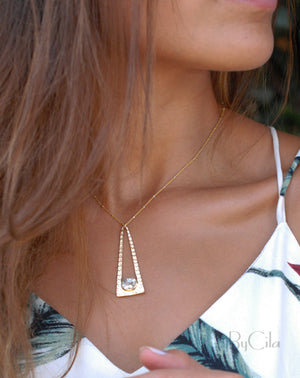 kathleen Necklace *Clear Quartz * Gold vermeil * BJN081