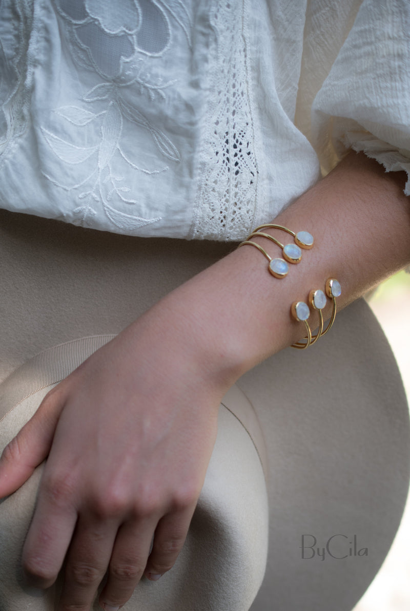 Moonstone Bangle Bracelet * Gold Plated * Gemstone * Adjustable * Statement * Stacking * Layering* BJB027