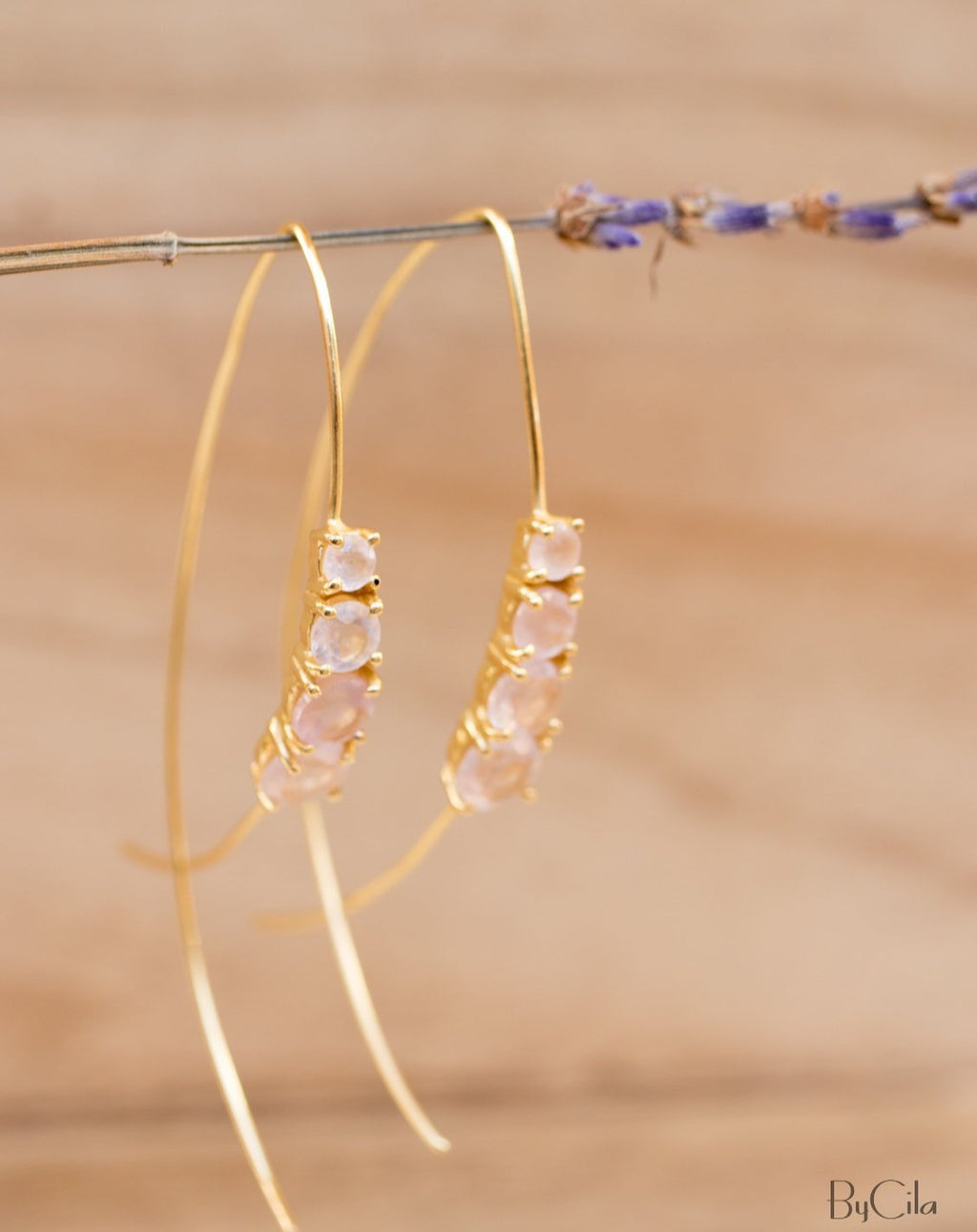 Aja Earrings * Rose Quartz * Gold Vermeil, Rose Gold Vermeil or Sterling Silver 925 * BJE046A
