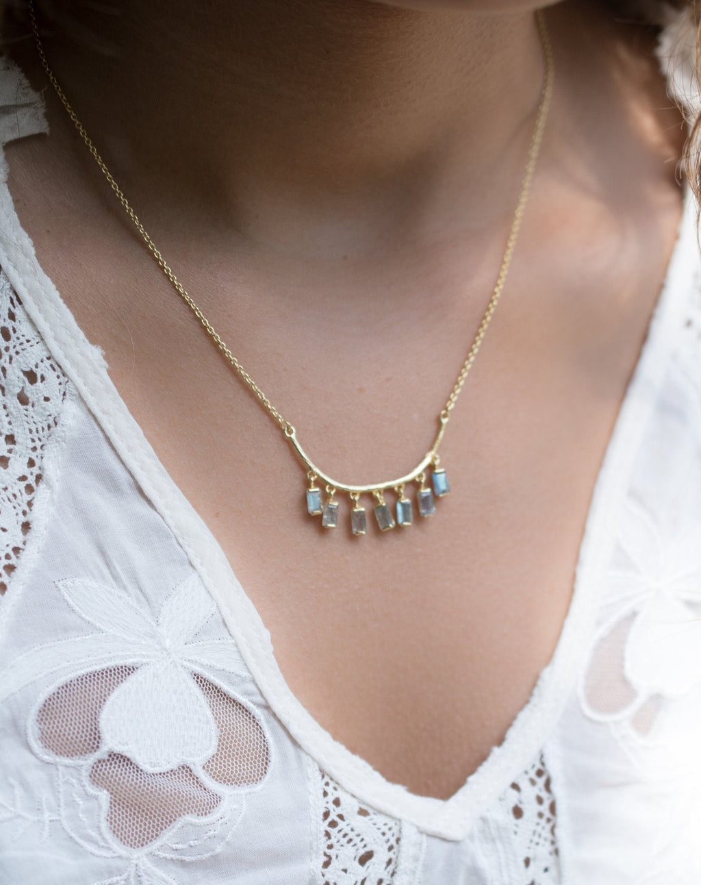 Emilly Necklace * Labradorite or Moonstone * Gold Vermeil * BJN034