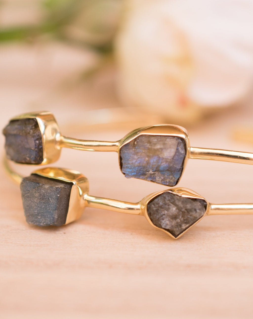 Rough Labradorite Bangle Bracelet *Gold Plated 18k* Gemstone * Gypsy * Hippie * Adjustable * Statement * Stacking * Layering * BJB028